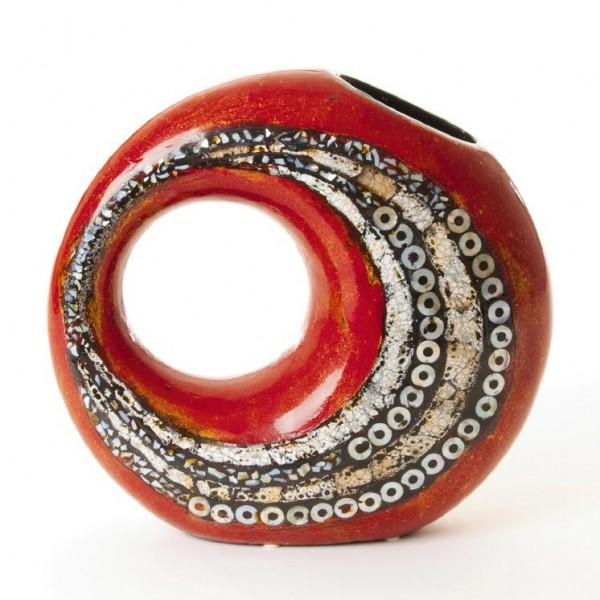 Keramikvase mit Perlmuttbesatz, rot/schwarz, L 9 cm, B 31 cm, H 30 cm