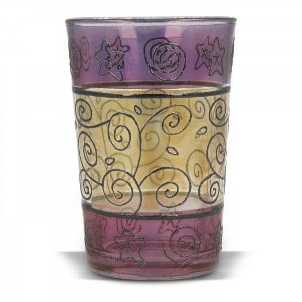 Kerzenglas, violett/gelb, H 9,5 cm, Ø 6 cm
