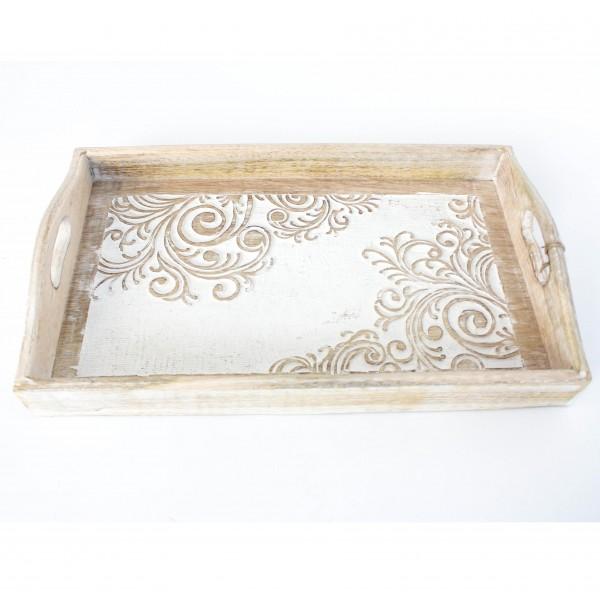 """Tablett """"Taranga"""", weiß/natur, L 23,5 cm, B 39 cm, H 5 cm"""