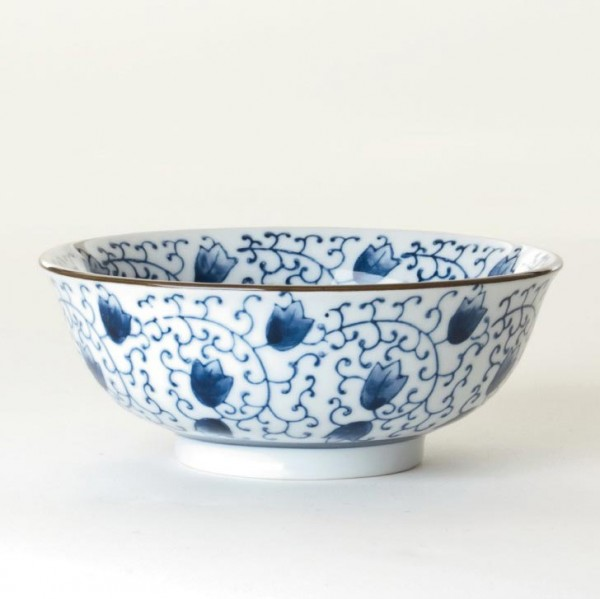 Suppenschale Blumenmuster, weiß/blau, H 6,5 cm, Ø 15,5 cm