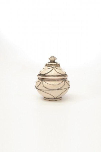 Rundbehälter mit Metallverzierung hoch, creme, T 13 cm, B 13 cm, H 16 cm
