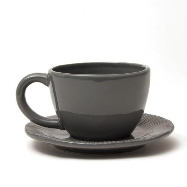"""Tasse """"Organic"""" mit Unterteller, dunkelgrau, H 6,5 cm, Ø 10 cm"""