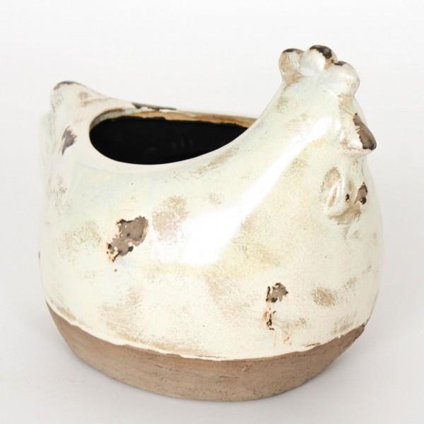 """Übertopf """"Huhn"""", antik-perlmutt, L 17cm, B 21 cm, 17,5 cm"""