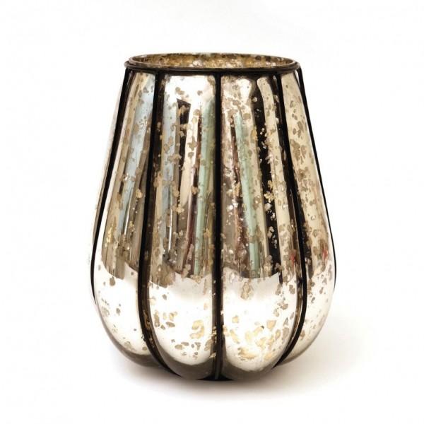"""Windlicht """"Citrouille"""" mit Metallrahmen M, silber, Ø 17 cm, H 20 cm"""
