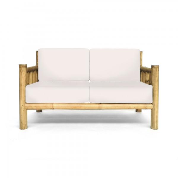 Bambusbank 'Chendra' 2-Sitzer mit weißen Polstern, natur, weiß, T 75 cm, B 135 cm, H 75 cm