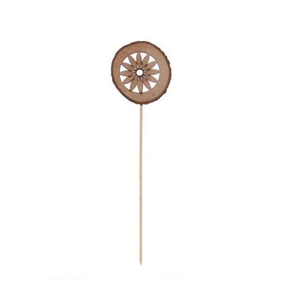 Holzstecker Blume, braun, T 0,7 cm, B 8 cm, H 33 cm