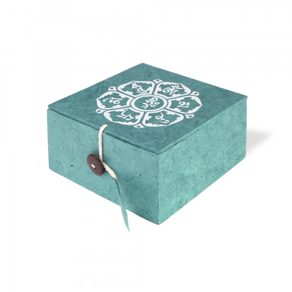 Loka Box Om Mani, blaugrün, weiß, T 11 cm, B 11 cm, H 5,5 cm