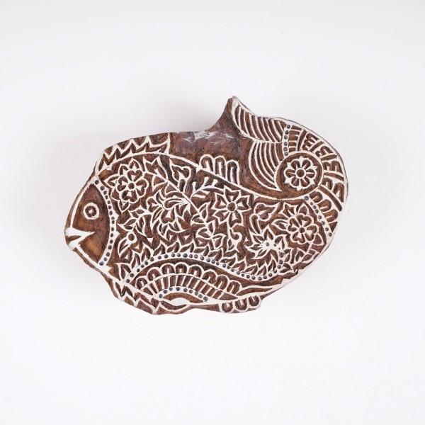 "Holzstempel ""Fisch"", handgeschnitzt, B 14,5 cm, H 10 cm"