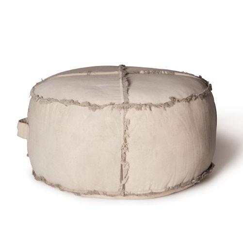 Sitzpouf 'Katava' im Vintage-Look, gefertigt aus alten Militärzelten, Ø 85 cm, H 45 cm