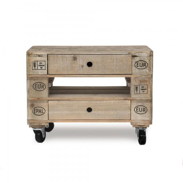 Beistelltisch 'Palet' mit Rollen, 2 Schubladen, natur, T 39 cm, B 58 cm, H 44 cm