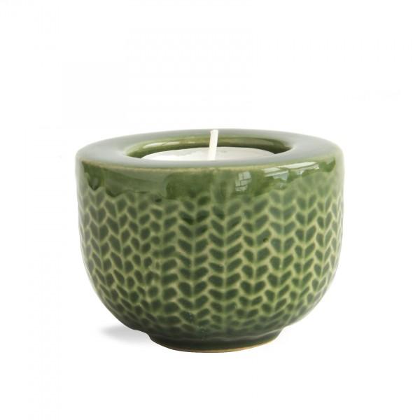 Teelichthalter 'Fischgrät', grün, Ø 7 cm, H 5 cm