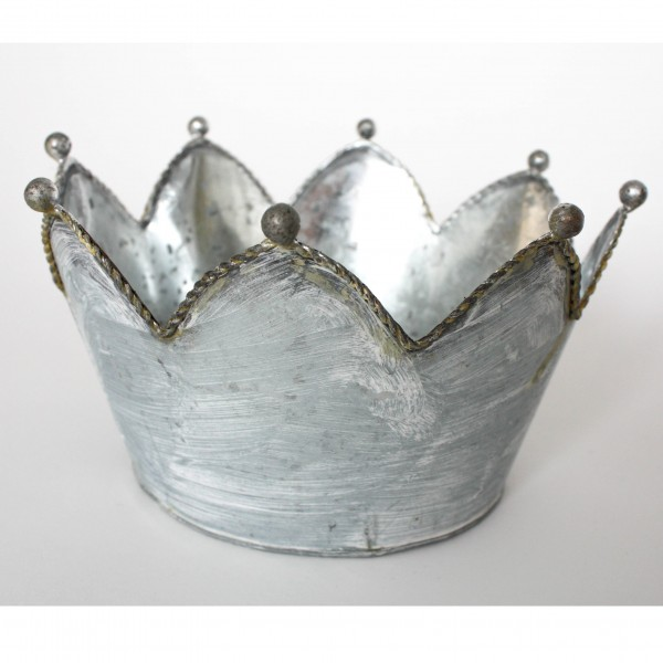 "Übertopf ""Krone L"", grau/weiß, H 13 cm, Ø 19,5 cm"