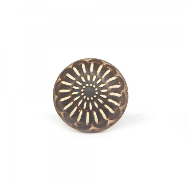 Knopf 'Muster', braun, beige, T 4 cm, B 4 cm, H 3,5 cm