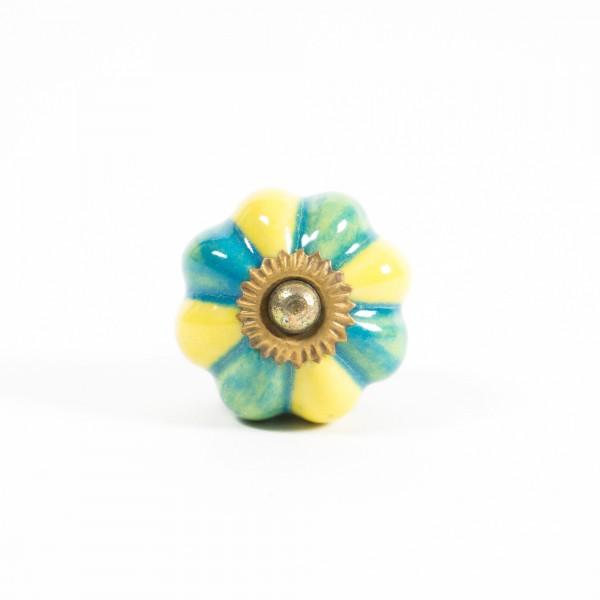 "Keramik Möbelknopf ""Blume"", handglasiert, türkis/gelb, Ø 3,2 cm"