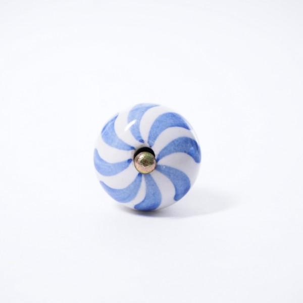 Keramik Möbelknopf, handglasiert, blau/weiß, Ø 3,5 cm