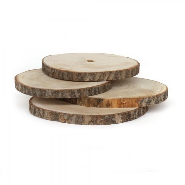 Holzscheiben, unbehandelt, 4er-Pack, natur, Ø 23-25 cm, H 2 cm