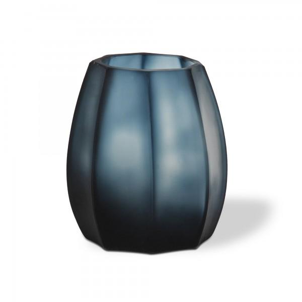 Glasvase 'Octagonal' groß, blau, T 17 cm, B 17 cm, H 24 cm