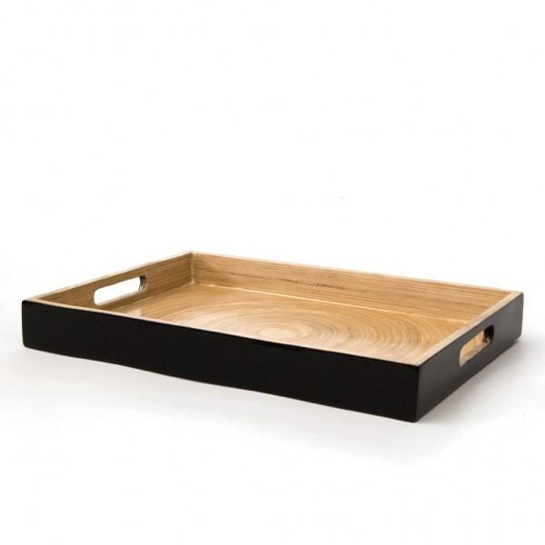 Tablett, schwarz/natur, L 35 cm, B 25 cm, 4 cm