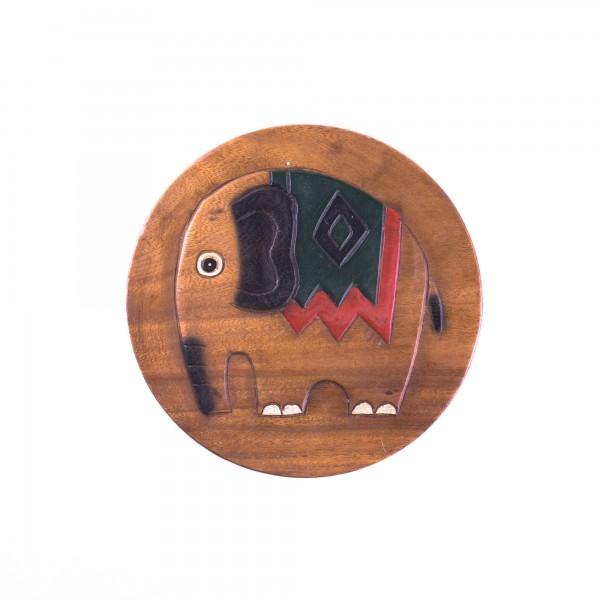 Massive kleine Hocker, braun, rot, schwarz, H 25 cm, Ø 25 cm