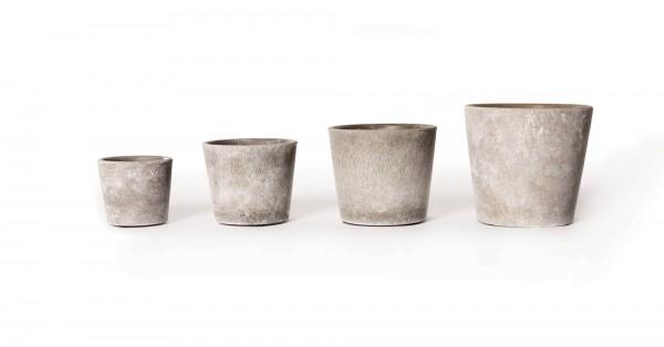 Übertopf 'Gent' M, grau, white-wash, Ø 10 cm, H 9 cm