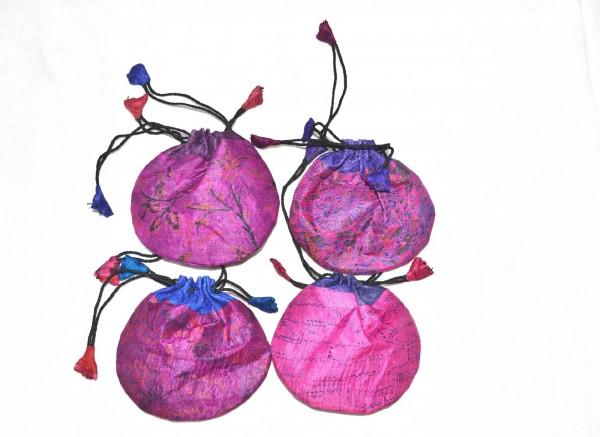 Seidenbeutel gemustert, pink, T 11 cm, B 11 cm
