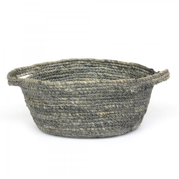 Korb 'Norcia' L, grau, natur, Ø 25 cm, H 12 cm