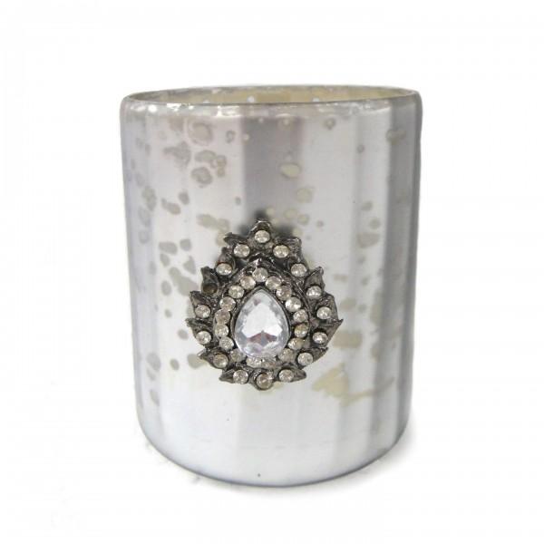 """Teelichtglas """"Votiveschmuck"""", silber, Ø 7 cm, H 8 cm"""