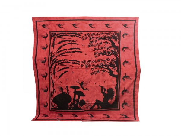 "Tagesdecke ""Basanti"", aus 100% Baumwolle, rot/schwarz, L 220 cm, B 260 cm"