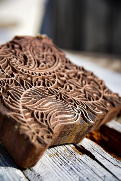 Holzstempel 'Paisley', handgeschnitzt, B 12 cm, H 14,5 cm