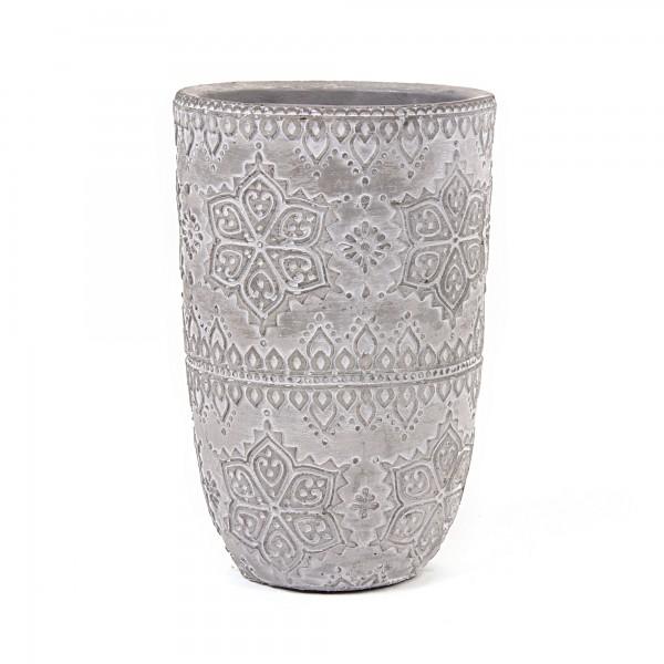 Zementtopf Blumenmosaik, grau, Ø 13 cm, H 21 cm