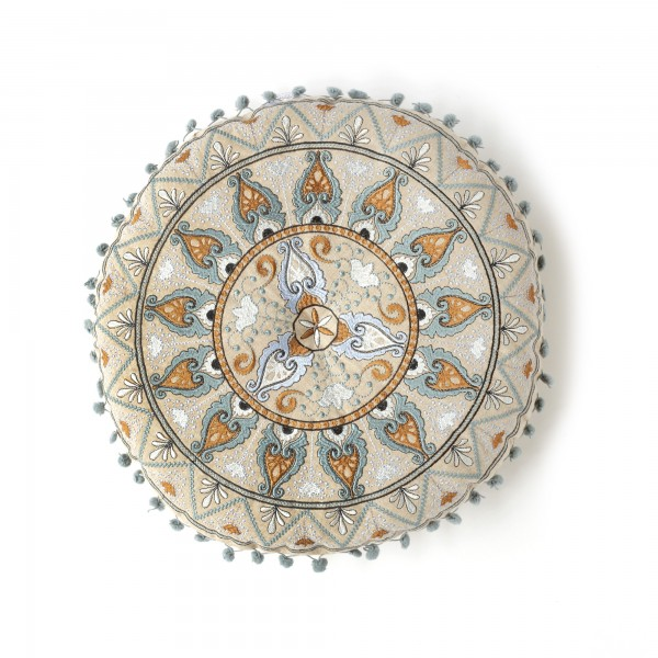 Sitzkissen 'Godala' mit Pompon, beige, graublau, flieder, Ø 40 cm, H 5 cm