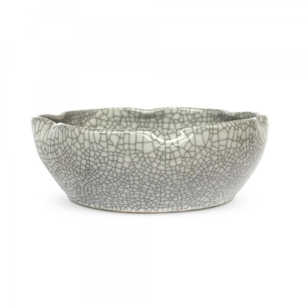 Keramikschale 'Craquelé' gewellt, grau, Ø 25 cm, H 8,5 cm