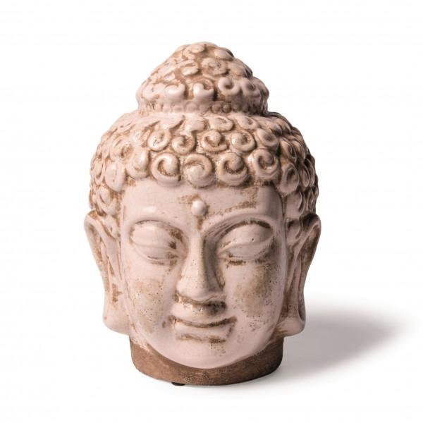 Keramik-Buddhakopf, weiß, B 19 cm, H 25 cm