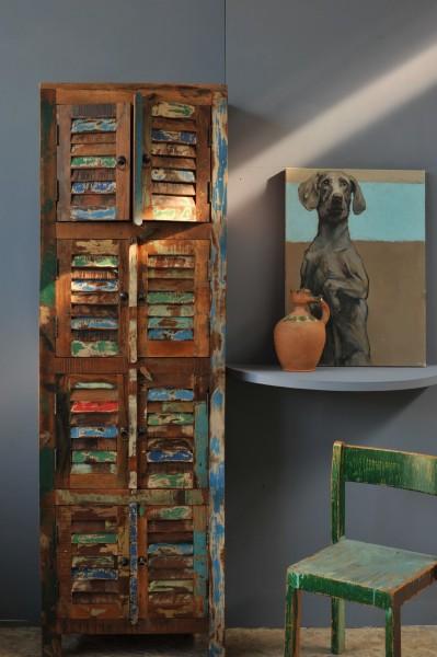 Schrank 'Jarrow' mit 8 Türen aus recyceltem Holz, T 38 cm, B 60 cm, H 190 cm