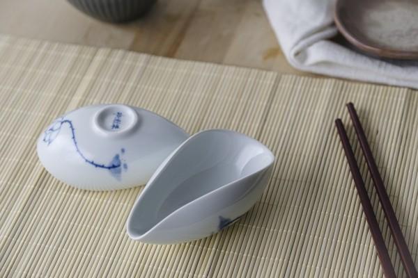 Keramikschale, weiß, blau, T 12 cm, B 7 cm, H 5 cm
