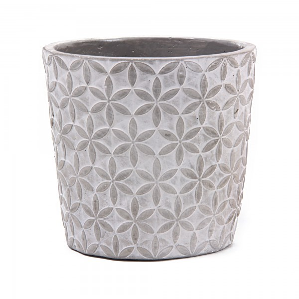 Zementtopf 'Sternblume', grau, weiß, Ø 13,5 cm, H 12,5 cm