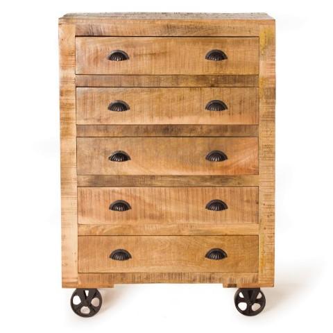 "Schubladenschrank ""Mysore"" aus recyceltem Mangoholz, braun, T 45 cm, B 82 cm, H 120 cm"
