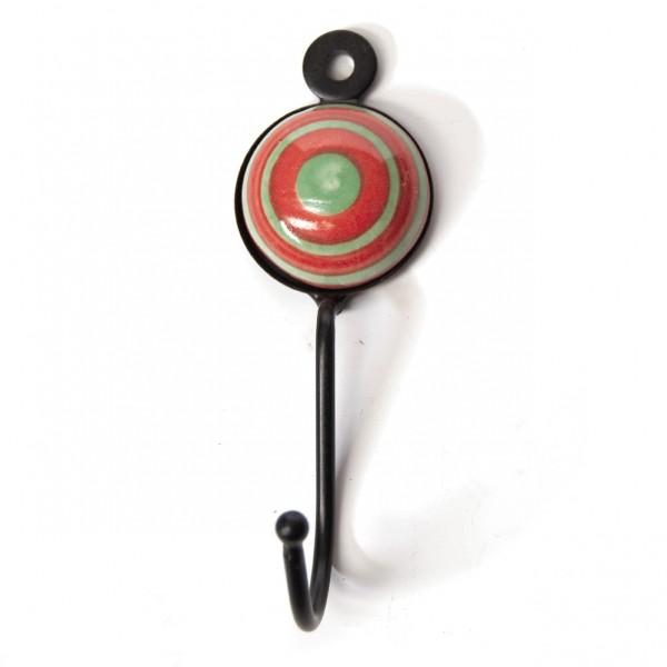 Wandhaken 1fach, rot/grün, L 4,5 cm, B 4,5 cm, H 15 cm