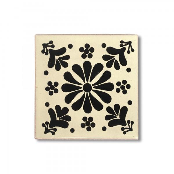 Kachel 'Xico', schwarz, weiß, T 10 cm, B 10 cm, H 0,5 cm