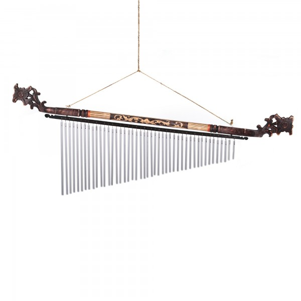 "Windspiel ""Ranke"" aus Bambus, Klangkörper aus Aluminium, B 102 cm, H 42 cm"