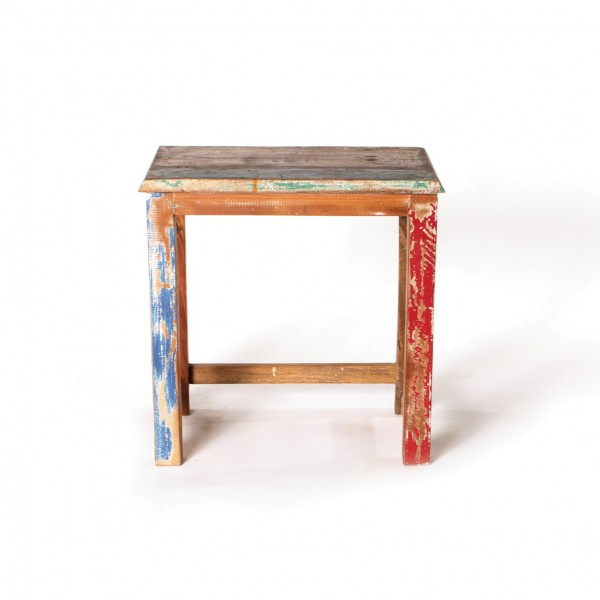 Beistelltisch 'Jarrow' aus recyceltem Holz, multicolor, T 29 cm, B 45 cm, H 46 cm