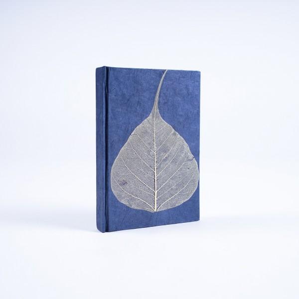 Notizbuch 'Blatt' aus handgeschöpftem Papier, blau, B 8 cm, H 11,5 cm