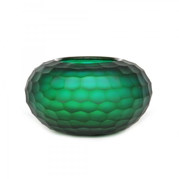 Glasvase 'Hexagon', grün, blau, Ø 19 cm, H 11 cm