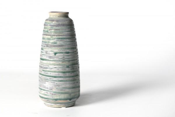 Vase geringelt, aus Steingut, grün/grau, Ø 9 cm, H 20 cm