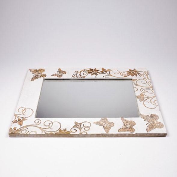 """Spiegel """"Schmetterling"""", weiß, B 60 cm, H 45 cm"""