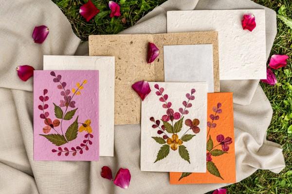 Grußkarte 'Blume', orange, T 17,5 cm, B 12 cm