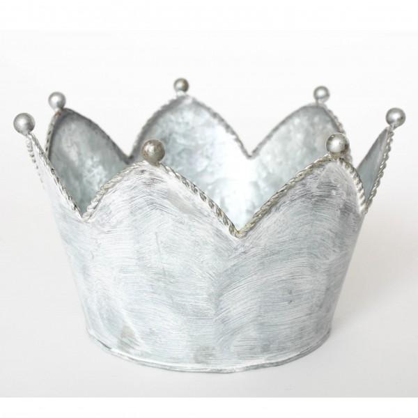 "Übertopf ""Krone M"", grau/weiß, H 12 cm, Ø 16,5 cm"