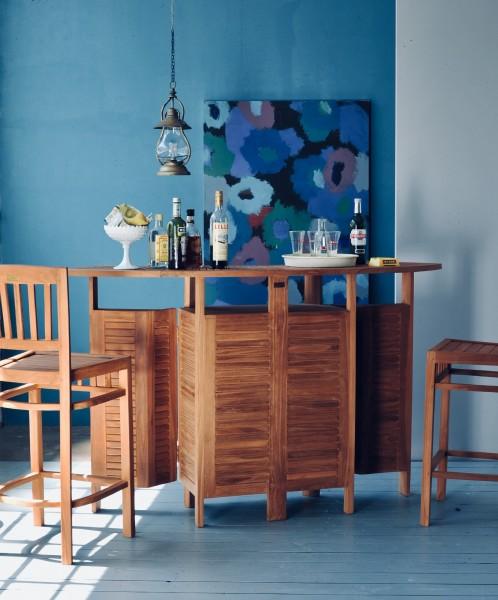 Set Bartisch mit 2 Barstühlen 'Marseille', natur