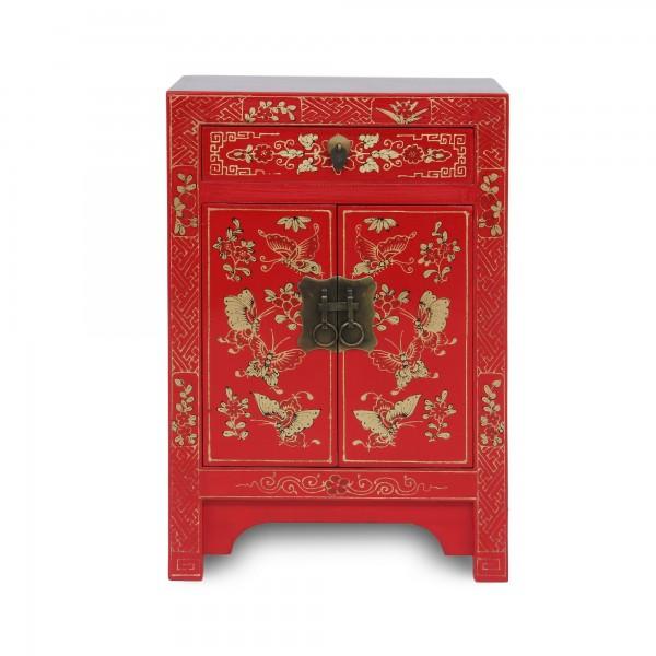 Kommode 'Schmetterling', 1 Schublade, 2 Türen, rot, T 32 cm, B 40 cm, H 60 cm
