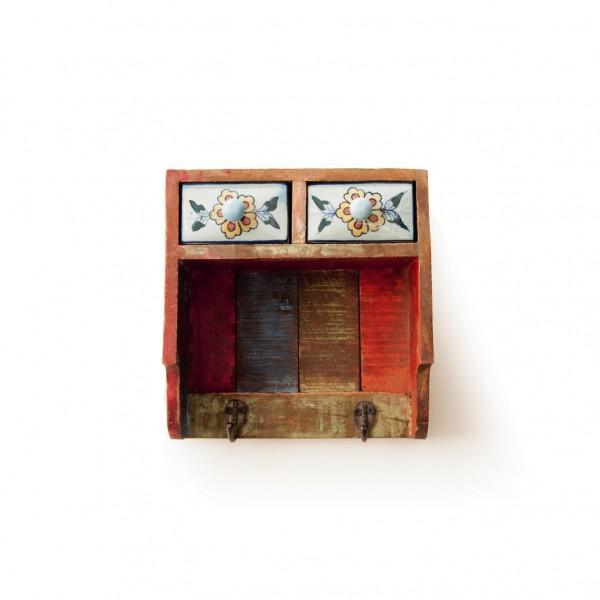 Kleine Hängekommode mit Haken, multicolor, L 25 cm, B 11 cm, H 25 cm